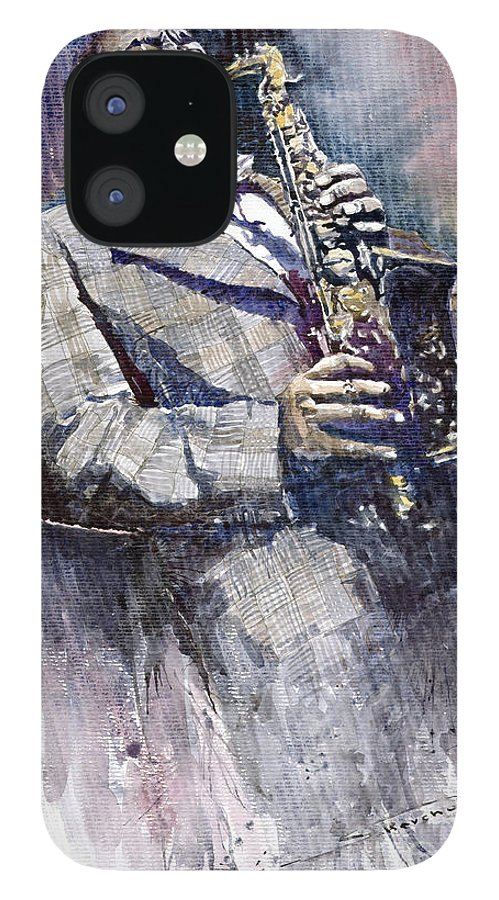 Watercolor IPhone 12 Case featuring the painting Jazz Saxophonist Charlie Parker by Yuriy Shevchuk