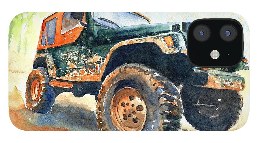 Jeep IPhone 12 Case featuring the painting Jeep Wrangler Watercolor by Carlin Blahnik CarlinArtWatercolor