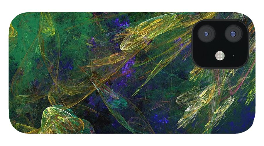 Fantasy iPhone 12 Case featuring the digital art Jelly Fish Diving the Reef Series 1 by David Lane