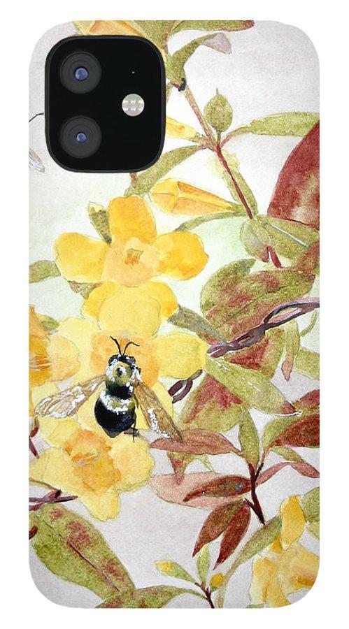 Jasmine IPhone 12 Case featuring the painting Jessamine Bee Mine by Jean Blackmer