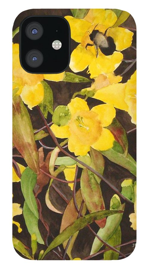 Flowers IPhone 12 Case featuring the painting Jessamine Jungle by Jean Blackmer