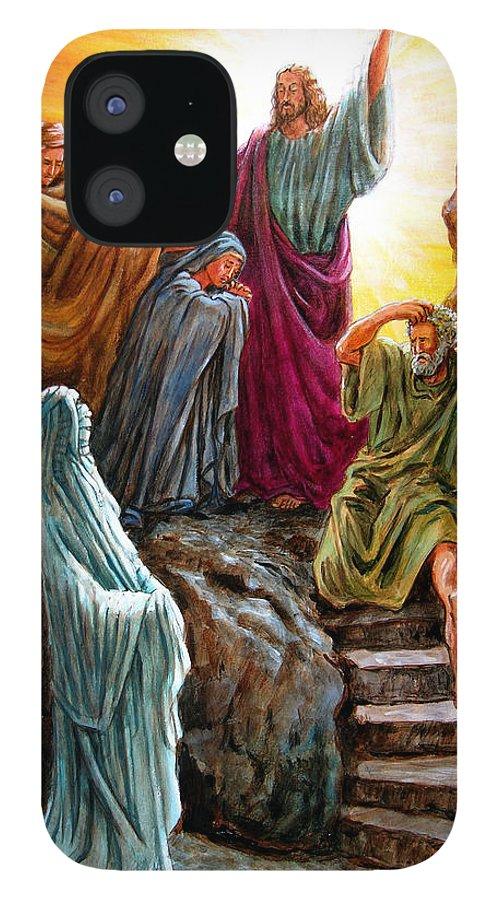 Bible Scene IPhone 12 Case featuring the painting Jesus Raises Lazarus by John Lautermilch