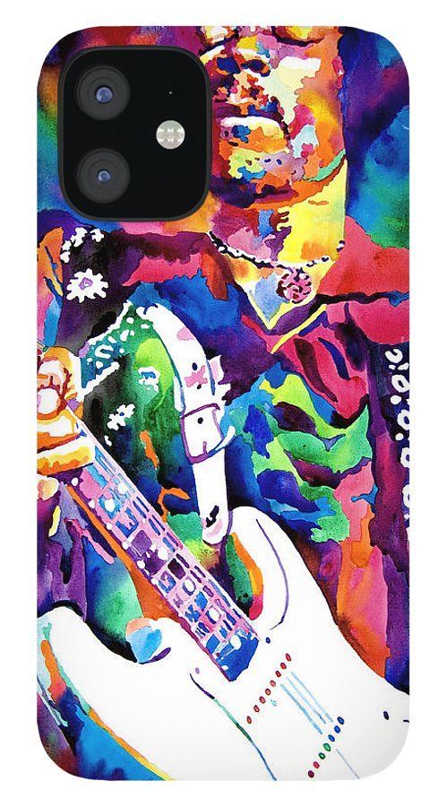 Jimi Hendrix IPhone 12 Case featuring the painting Jimi Hendrix Purple by David Lloyd Glover