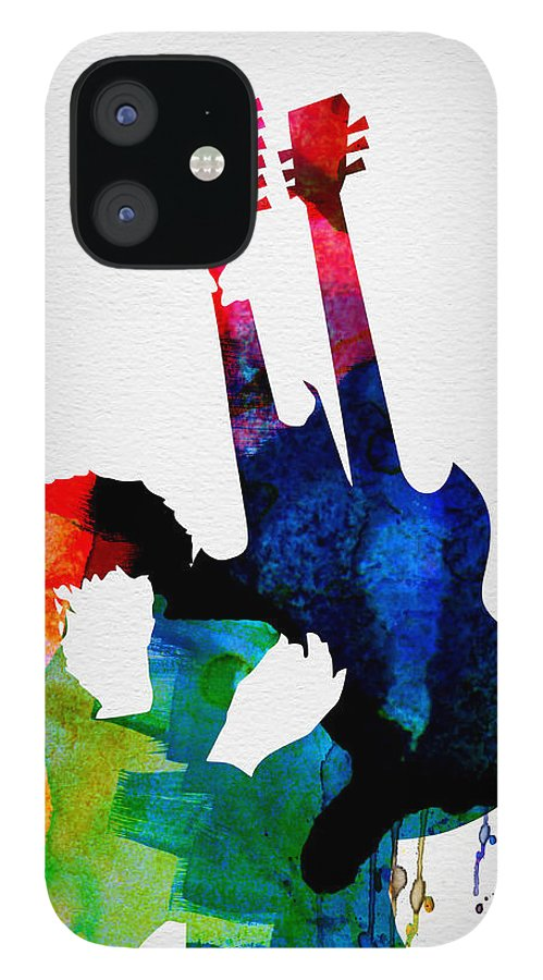 Jimmy Page IPhone 12 Case featuring the painting Jimmy Watercolor by Naxart Studio