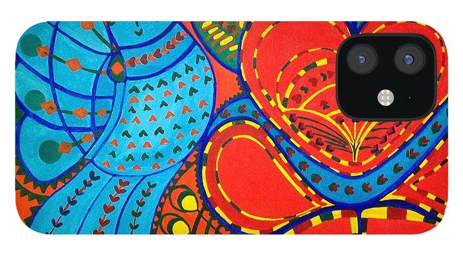 Contemporary Folk IPhone 12 Case featuring the painting Jinga Bird - Jinga bird by Fareeha Khawaja