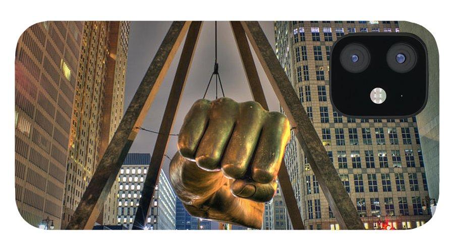 Dj Just Nick IPhone 12 Case featuring the digital art Joe Louis Fist Detroit MI by Nicholas Grunas