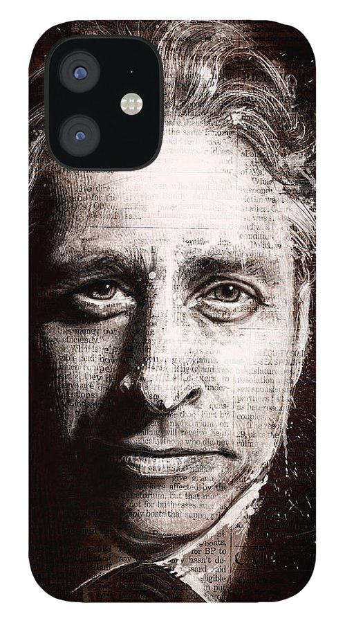 Comedy IPhone 12 Case featuring the painting Jon Stewart by Fay Helfer
