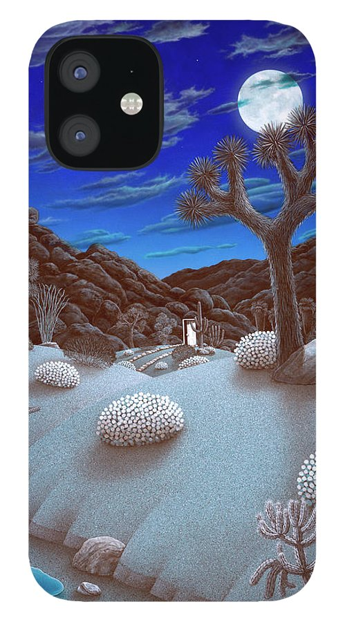 Landscape iPhone 12 Case featuring the painting Joshua Tree at night by Snake Jagger