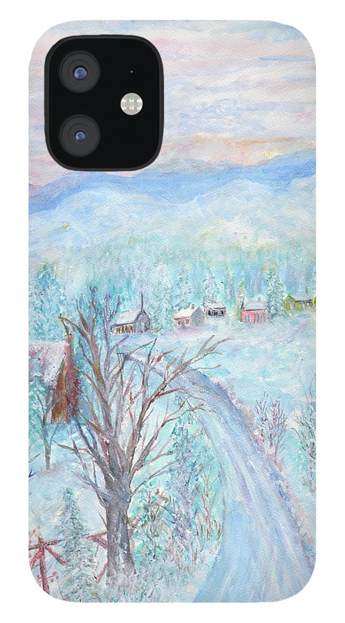 Winter iPhone 12 Case featuring the painting Joy of Winter by Ben Kiger