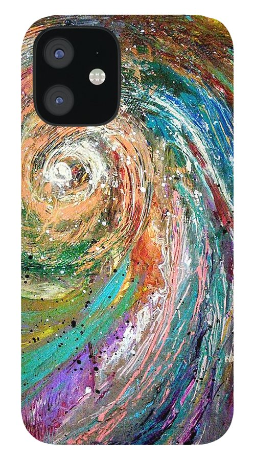 Spinning Colors IPhone 12 Case featuring the painting Joy by Valerie Josi