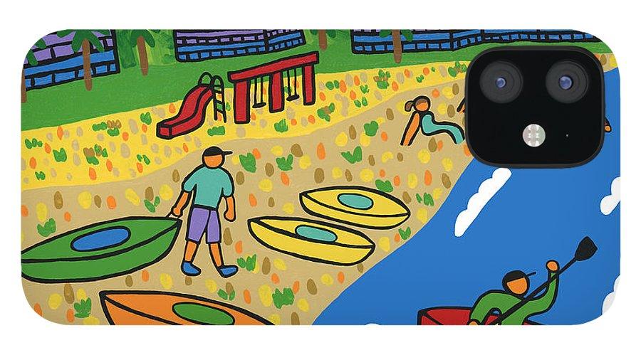 Kayak IPhone 12 Case featuring the painting Kayak Beach - Cedar Key by Mike Segal