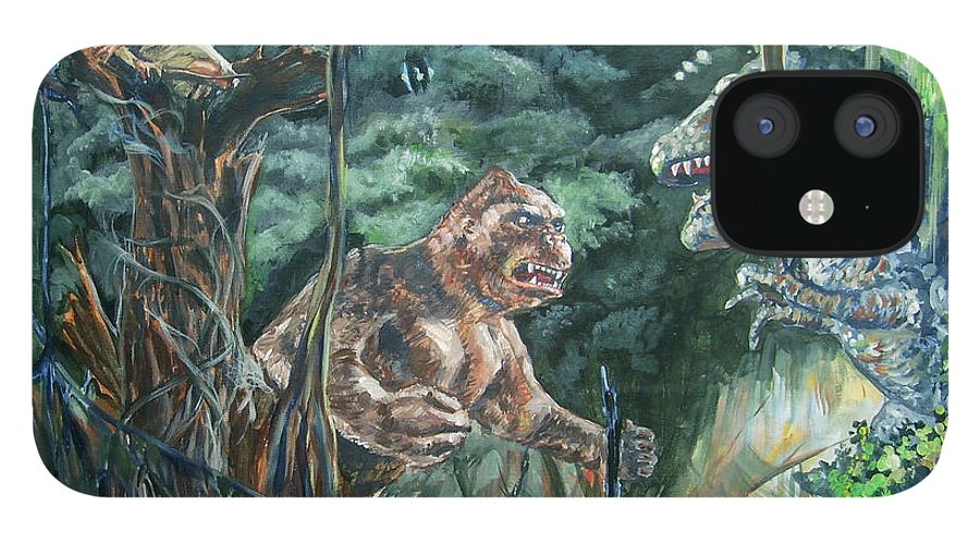 King Kong IPhone 12 Case featuring the painting King Kong vs T-Rex by Bryan Bustard