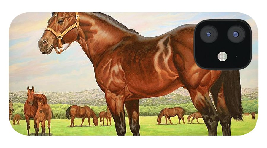 Quarter Horse IPhone 12 Case featuring the painting King P-234 No.two by Howard Dubois