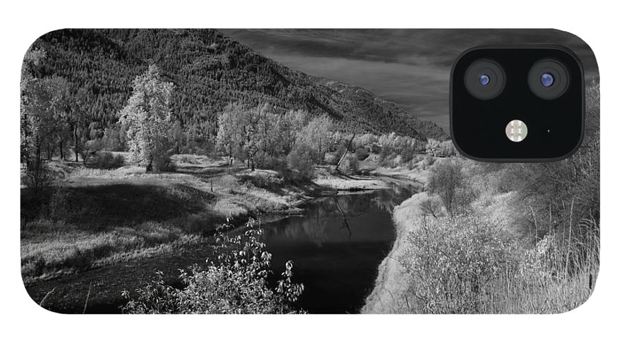 B&w IPhone 12 Case featuring the photograph Kootenai Wildlife Refuge in Infrared 3 by Lee Santa