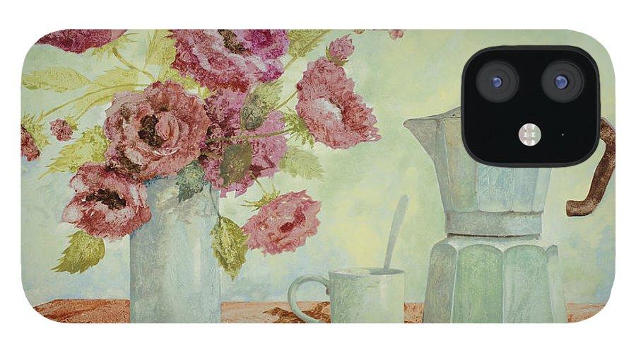 Breakfast iPhone 12 Case featuring the painting La Caffettiera E I Fiori Amaranto by Guido Borelli