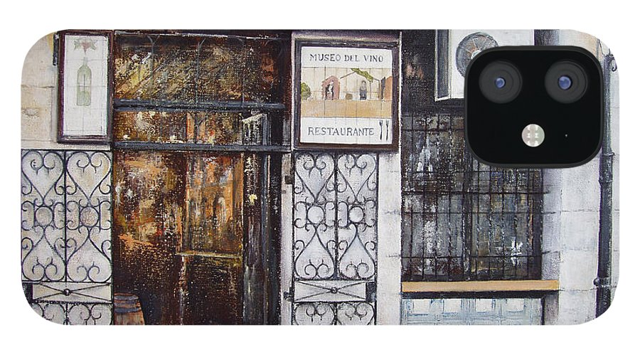 Bodega IPhone 12 Case featuring the painting La Cigalena Old Restaurant by Tomas Castano