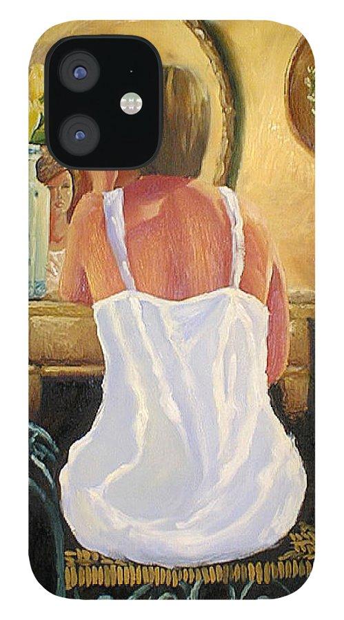 People IPhone 12 Case featuring the painting La Coqueta by Arturo Vilmenay