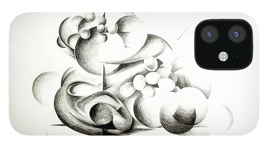 Abstract IPhone 12 Case featuring the drawing La guerre des bulles by Muriel Dolemieux
