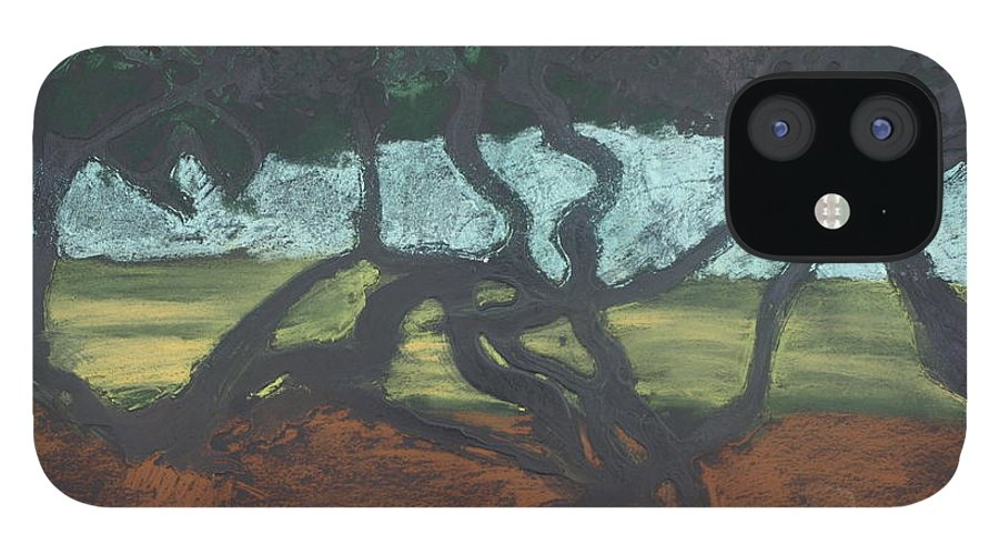 Contemporary Tree Landscape iPhone 12 Case featuring the mixed media La Jolla II by Leah Tomaino