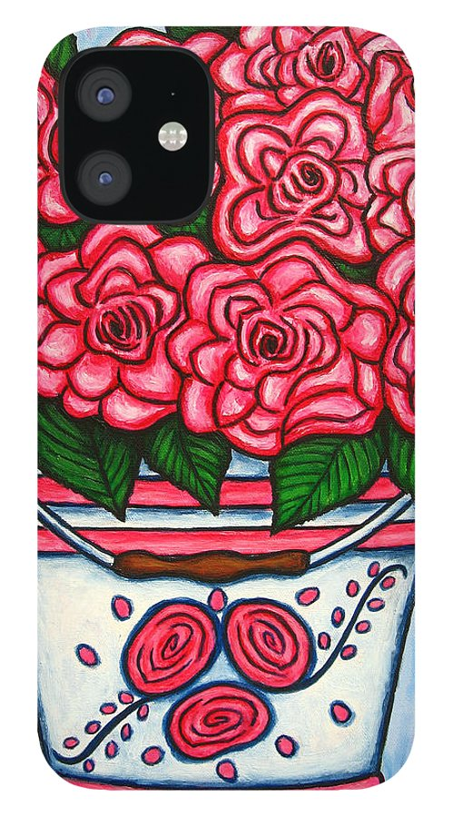 Rose IPhone 12 Case featuring the painting La Vie en Rose by Lisa Lorenz