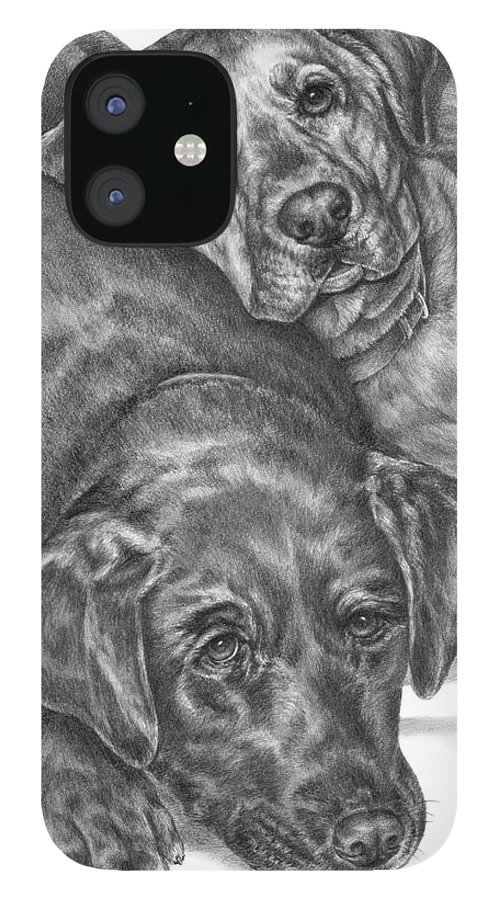 Two IPhone 12 Case featuring the drawing Labrador Dogs Nap Time by Kelli Swan