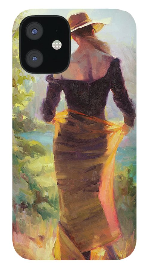 Woman IPhone 12 Case featuring the painting Lady of the Lake by Steve Henderson