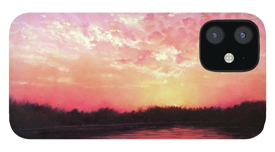 Landscape IPhone 12 Case featuring the painting Lake Sunset by Teri Rosario