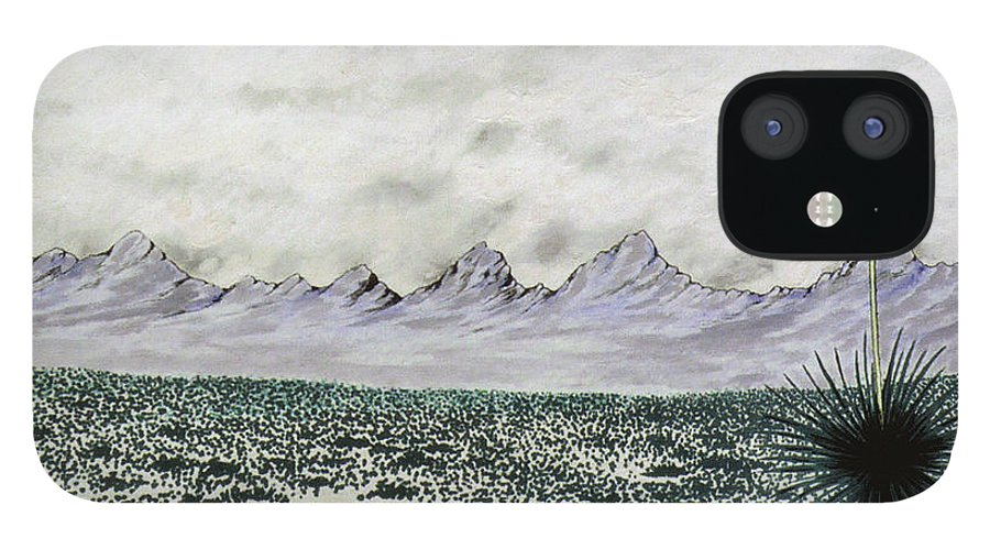 Desertscape IPhone 12 Case featuring the painting Land of Enchantment by Marco Morales