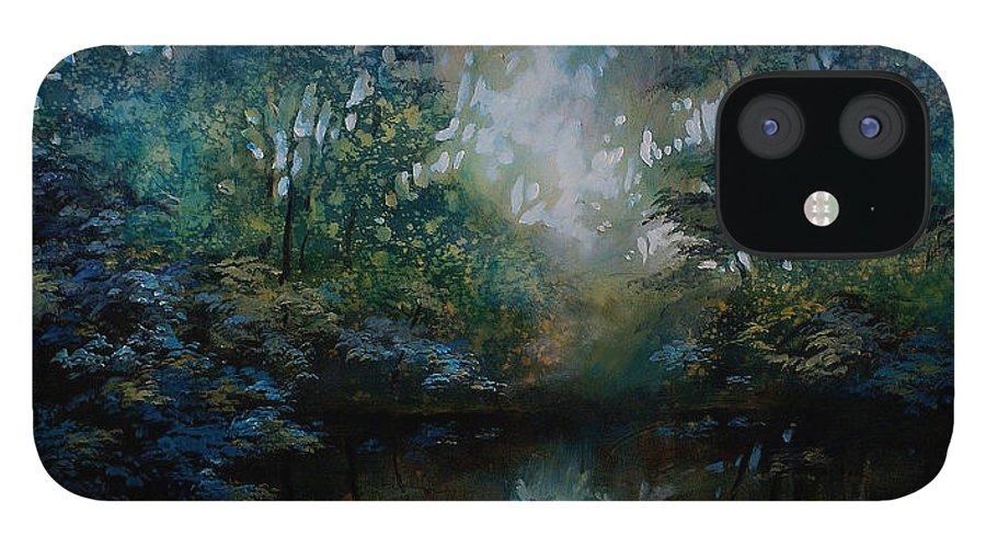 Original Landscape Painting IPhone 12 Case featuring the painting Landscape 2 by Michael Lang