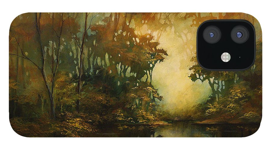 Abstract Art IPhone 12 Case featuring the painting Landscape 3 by Michael Lang