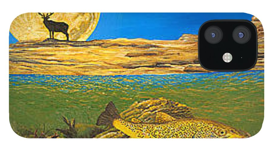 Artwork IPhone 12 Case featuring the painting Landscape Art Fish Art Brown Trout TIMING Bull Elk Full Moon Nature Contemporary Modern Decor by Patti Baslee