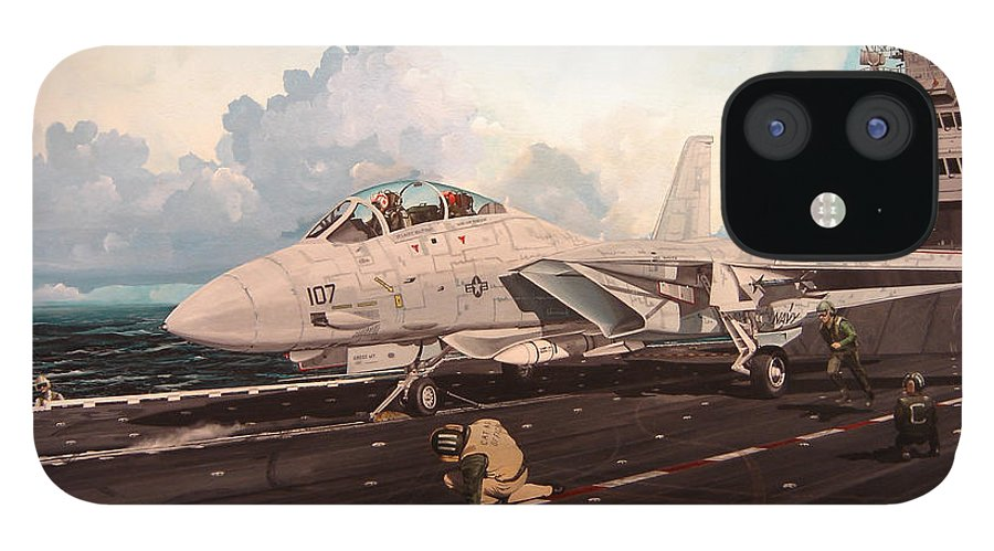Military IPhone 12 Case featuring the painting Launch The Alert 5 by Marc Stewart