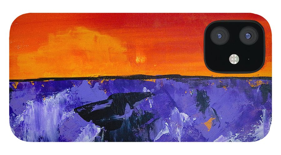 Lavender IPhone 12 Case featuring the painting Lavender Sunset Abstract Landscape by Eliza Donovan