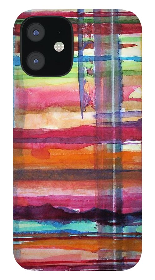 Abstract IPhone 12 Case featuring the painting Layered by Suzanne Udell Levinger