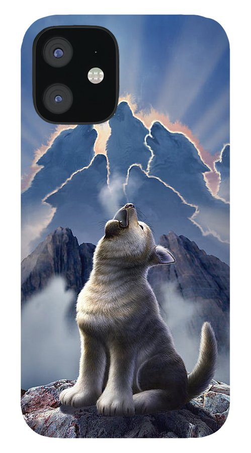 Wolf IPhone 12 Case featuring the digital art Leader of the Pack by Jerry LoFaro