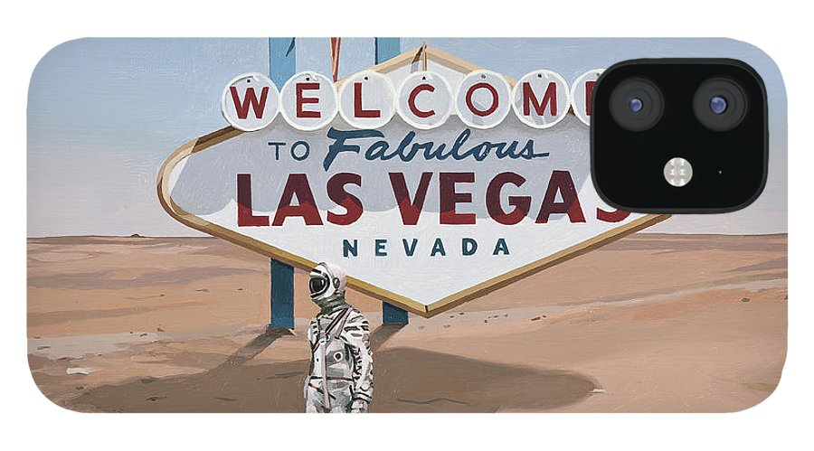 Astronaut IPhone 12 Case featuring the painting Leaving Las Vegas by Scott Listfield