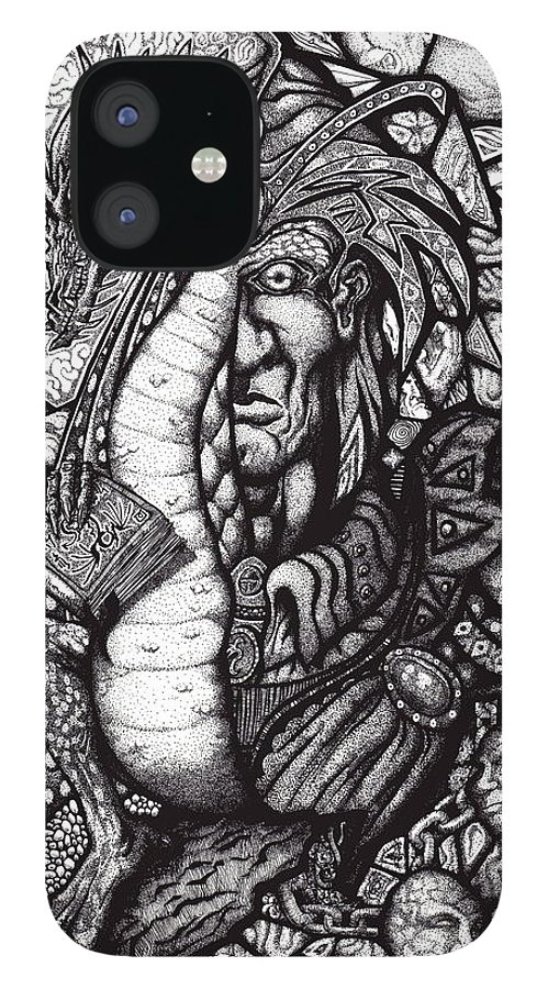 Pen And Ink IPhone 12 Case featuring the drawing Legend by Tobey Anderson