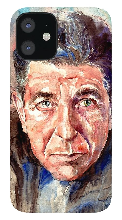 Leonard IPhone 12 Case featuring the painting Leonard Cohen painting by Suzann Sines