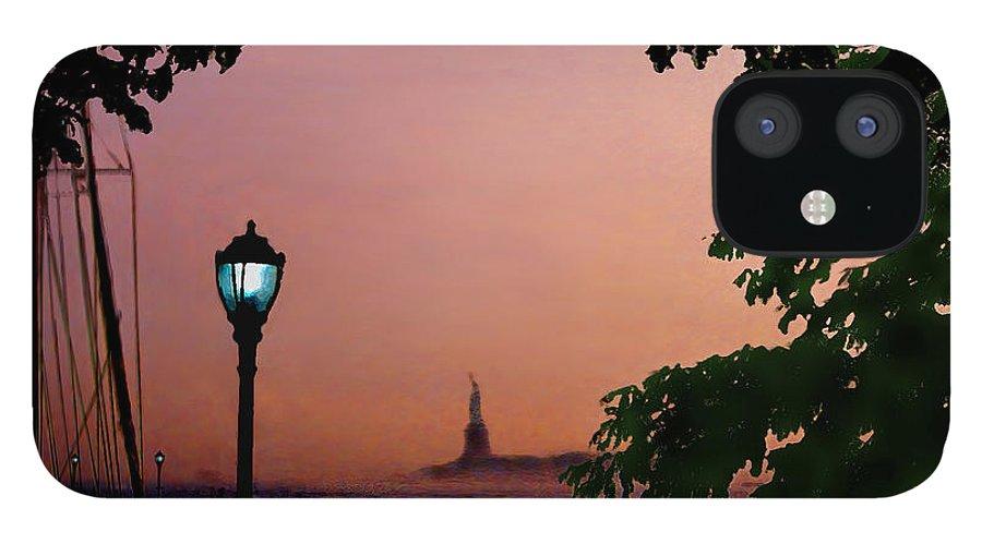 Seascape IPhone 12 Case featuring the digital art Liberty Fading seascape by Steve Karol