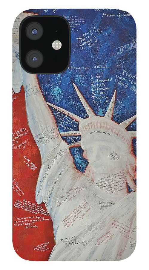 Statue Of Liberty IPhone 12 Case featuring the painting Liberty Is... by Margaret Bobb
