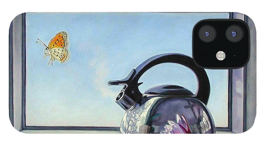 Steam Coming Out Of A Kettle IPhone 12 Case featuring the painting Life Is A Vapor by John Lautermilch