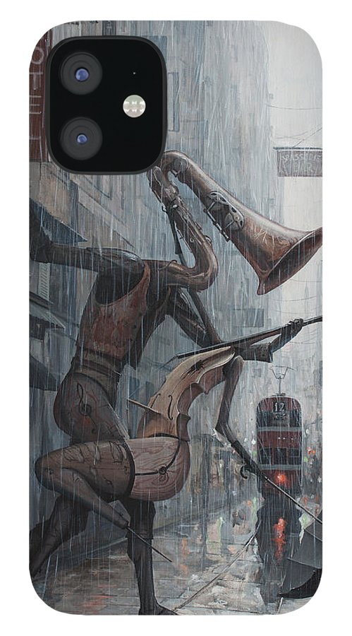 Life IPhone 12 Case featuring the painting Life is dance in the rain by Adrian Borda