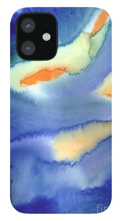 A Lighthouse In A Beautiful Stormy Night. This Is A Contemporary Watercolor Painting. IPhone 12 Case featuring the painting Lighthouse by Mui-Joo Wee