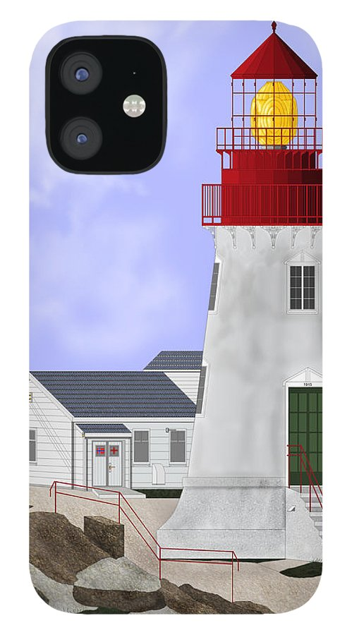 Lighthouse IPhone 12 Case featuring the painting Lindesnes Norway Lighthouse by Anne Norskog