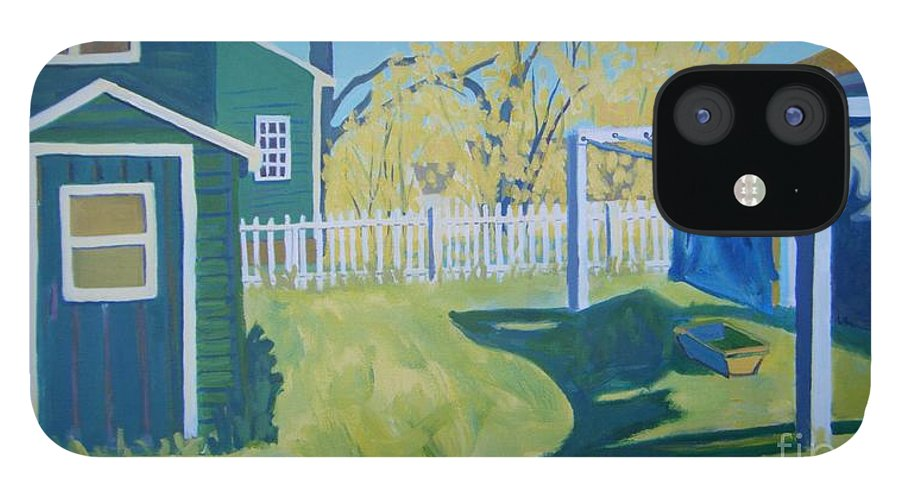 Backyard IPhone 12 Case featuring the painting Line Of Wash by Debra Bretton Robinson