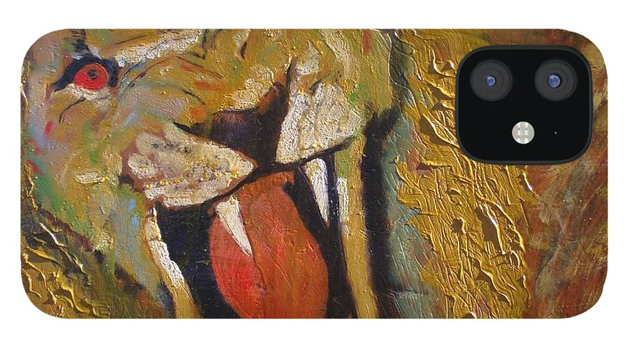 Lion IPhone 12 Case featuring the painting Lion one by J Bauer