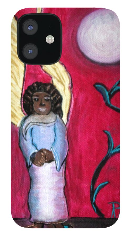 Beautiful Black Angel With Long Gold Wings IPhone 12 Case featuring the painting Little Angel by Pilar Martinez-Byrne
