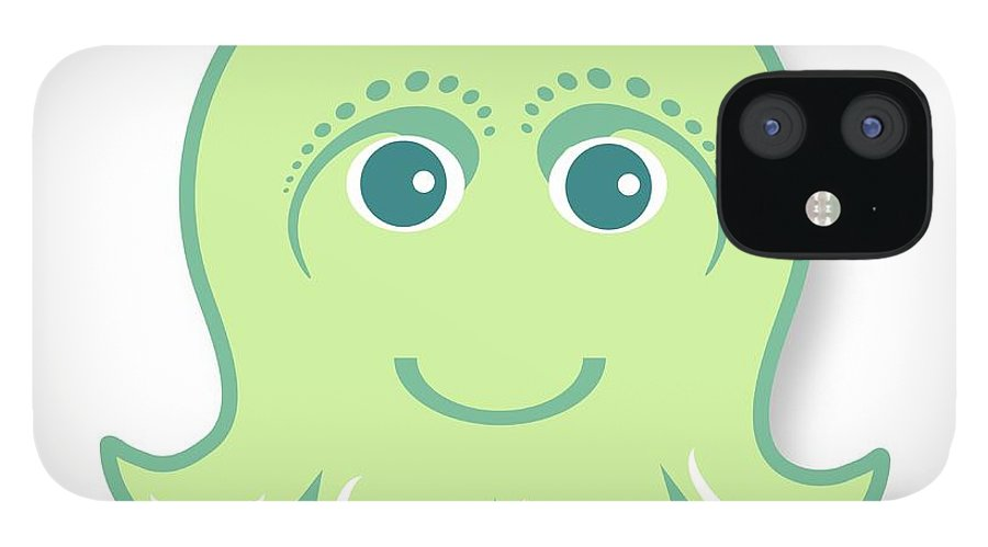Little Octopus IPhone 12 Case featuring the digital art Little cute green octopus by Ainnion