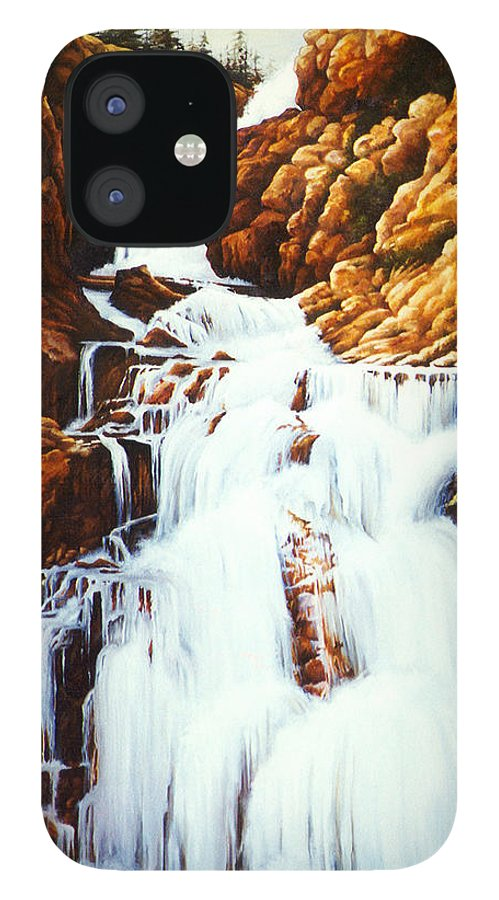 Waterfall IPhone 12 Case featuring the painting Little Firehole Falls by Teri Rosario