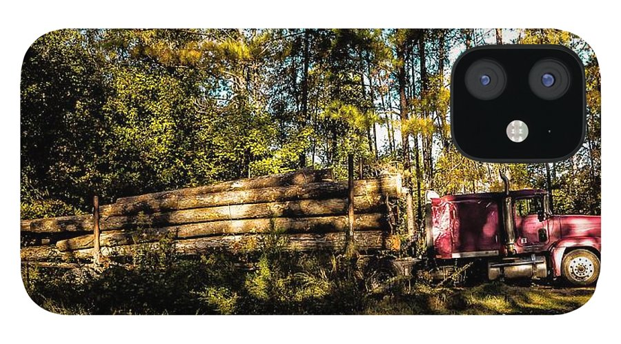 Woods IPhone 12 Case featuring the photograph Log Truck by Leon Hollins III